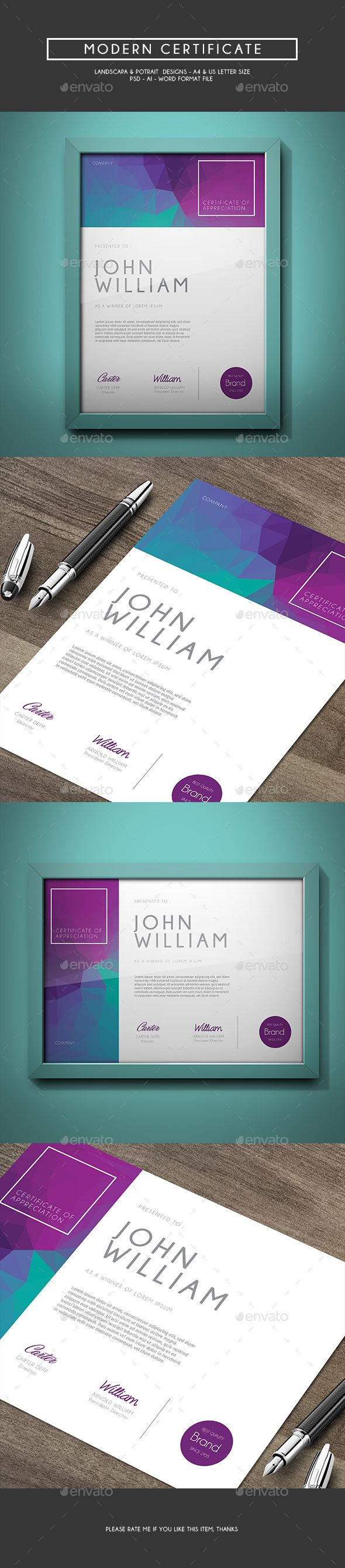 Modern Certificate Template PSD, Vector AI #design Download: http://graphicriver.net/item/modern-certificate/14495488?ref=ksioks
