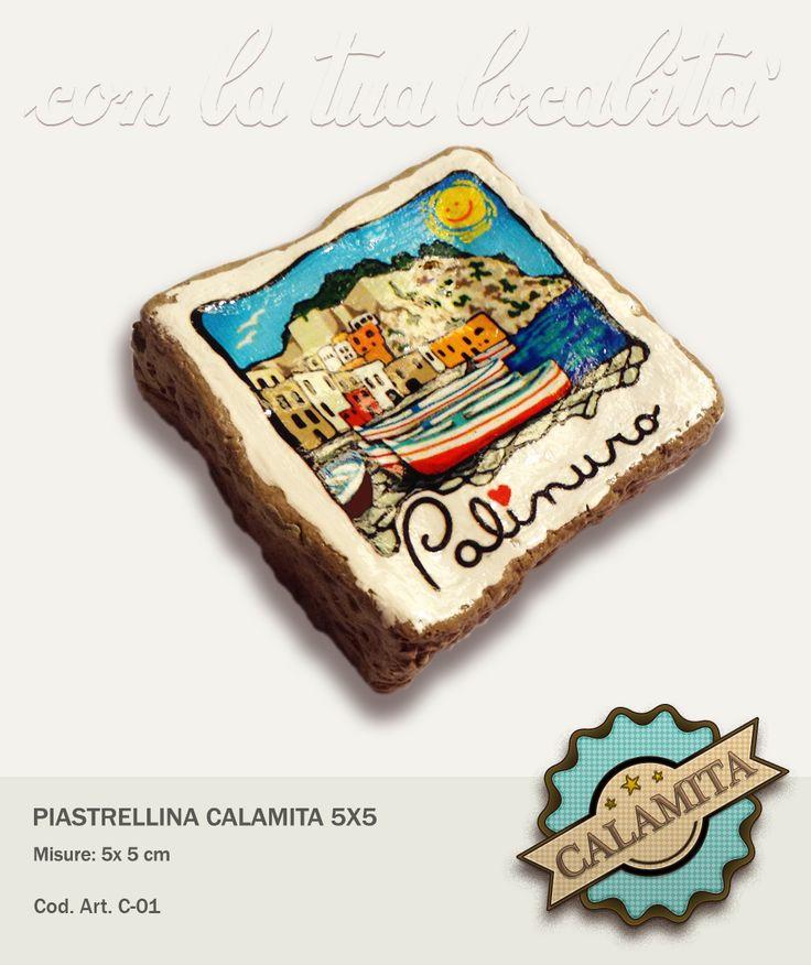 Piastrellina fatta completamente a mano con disegno su richiesta  e con calamita sul retro.