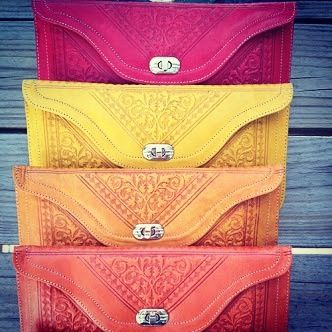 Moroccan leather stamped clutch