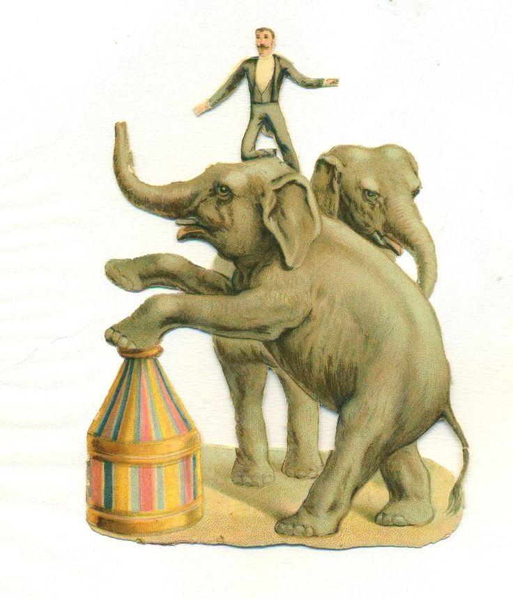 victorian  scrap circus elephant