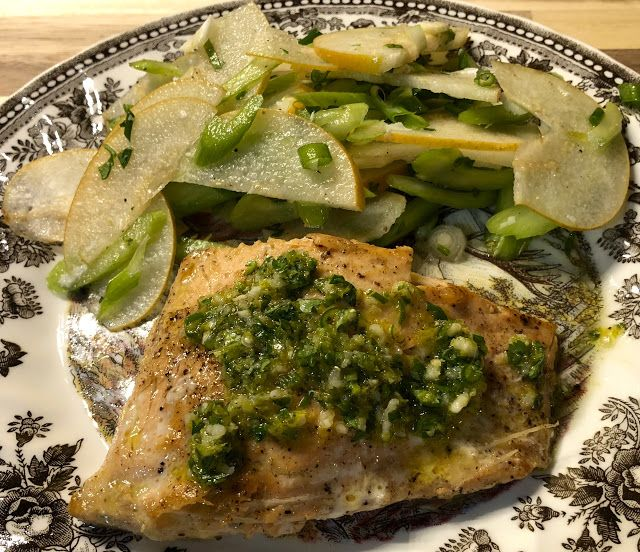 Salmon with Cilantro Lime Sauce and Pear Cashew Salad #sunbasket