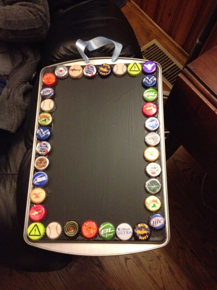 Dollar tree pan painted with chalkboard paint (you can find at any hardware store) and beer bottle caps attached with e6000 (you can find at any arts and crafts store). Holes drilled at the top to enable hanging with ribbon.