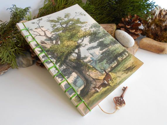 Travel notebook journal with Tree Art stab by ExiArtsEcoCrafts