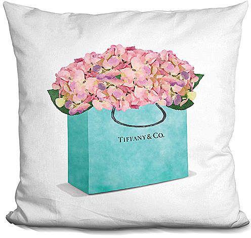 Amanda Greenwood Teal Shopping Bag Hydrangea Throw Pillow #ad