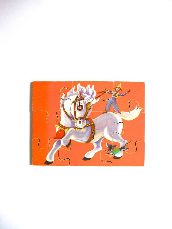 Vintage Wooden Picture Jigaw Puzzle White Pony Monkey Dog