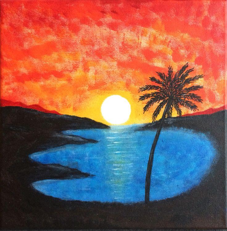 Sonnenuntergang Mit Schwamm Gemalt Sonnenuntergang In