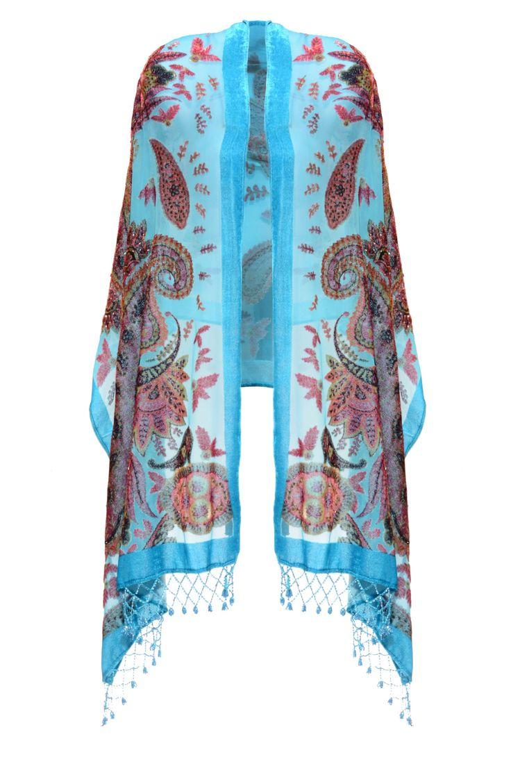 Jayley Blue Silk Devore Wrap | Peony Beaded Scarf