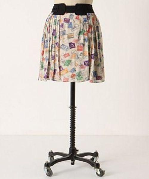 Anthropologie Mini Skirt Ivory/ Multi-Color