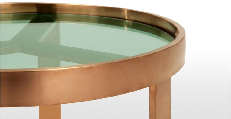 Aula Side Table, Brushed Copper and Green Glass | made.com