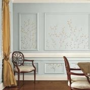 Bring Walls to Life With Tiny Twigs // Wall-frame molding can help make a large room feel more intimate, but those rectangles can also be a challenge to work with. Interior designer Meridy King, who likes to give period rooms a contemporary touch, originally decided to simply paint the paneled dining room walls in this Atlanta home a soft French blue with linen-white baseboards and chair rail. Artwork didn't sit right within the frame molding, and wallpaper inserts would have looked too…