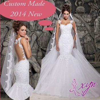 nieuwe ontwerp trouwjurken 2015 wit ivoor moderne lange zeemeermin prinses bruidsjurken w2039 zien door backless sexy hete verkoop