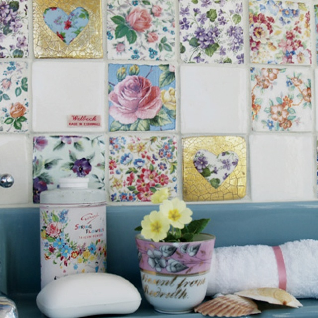 Patchwork vintage tiles from welbeck tiles more shabby for Shabby chic wall tiles