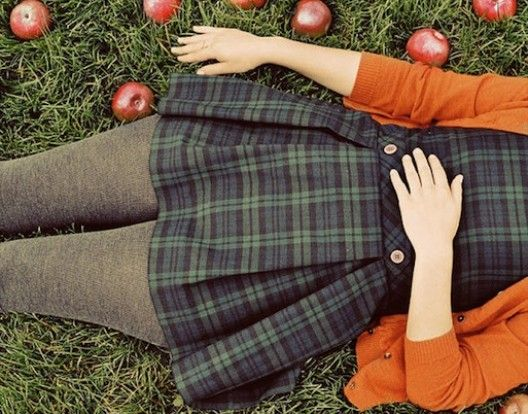 I'm Wide Awake And It's September: A MixtapeStyle, Autumn, Colors, Plaid, Dresses, Fall Fashion, Apples, Fall Outfit, Tartan Dress