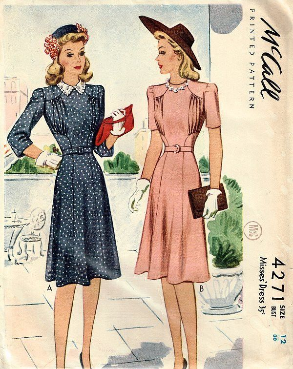 "1940s McCall #4271 Dress Pattern - Never Used - ORIGINAL - Factory Folds - 30"" b"