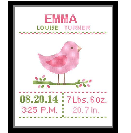 1 Cross Stitch custom Pattern Baby Girl Personalised Birth Announcement Birth Record Bird Pink Green Brown Nature Woodland Nursery Gift
