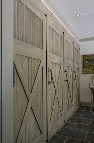barn doors to hide media or stuff in a mud room or outside for a small kitchen on a porch