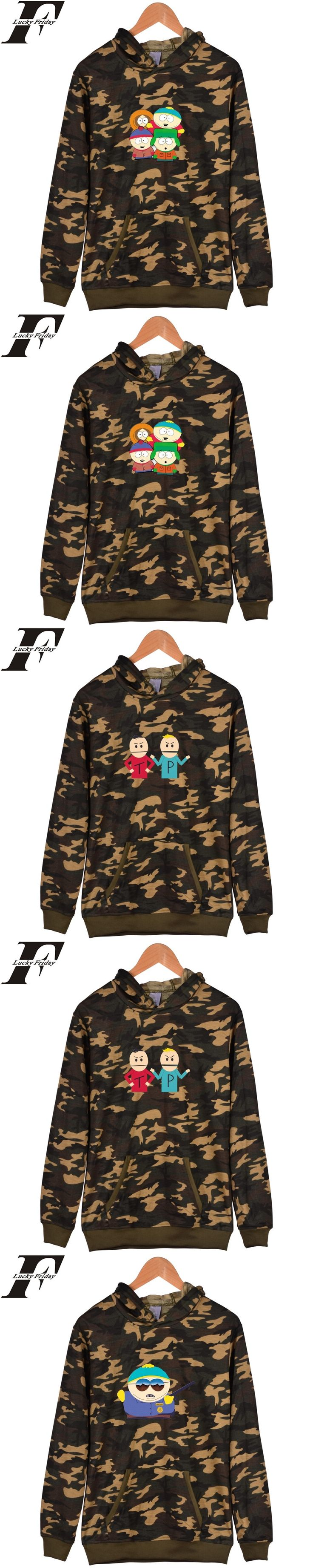 LUCKYFRIDAYF Hot Sale South Park Camouflage Hoodies Harajuku Mens Sweatshirt And South Park Cartoon Battle Fatigues Sweatshirts