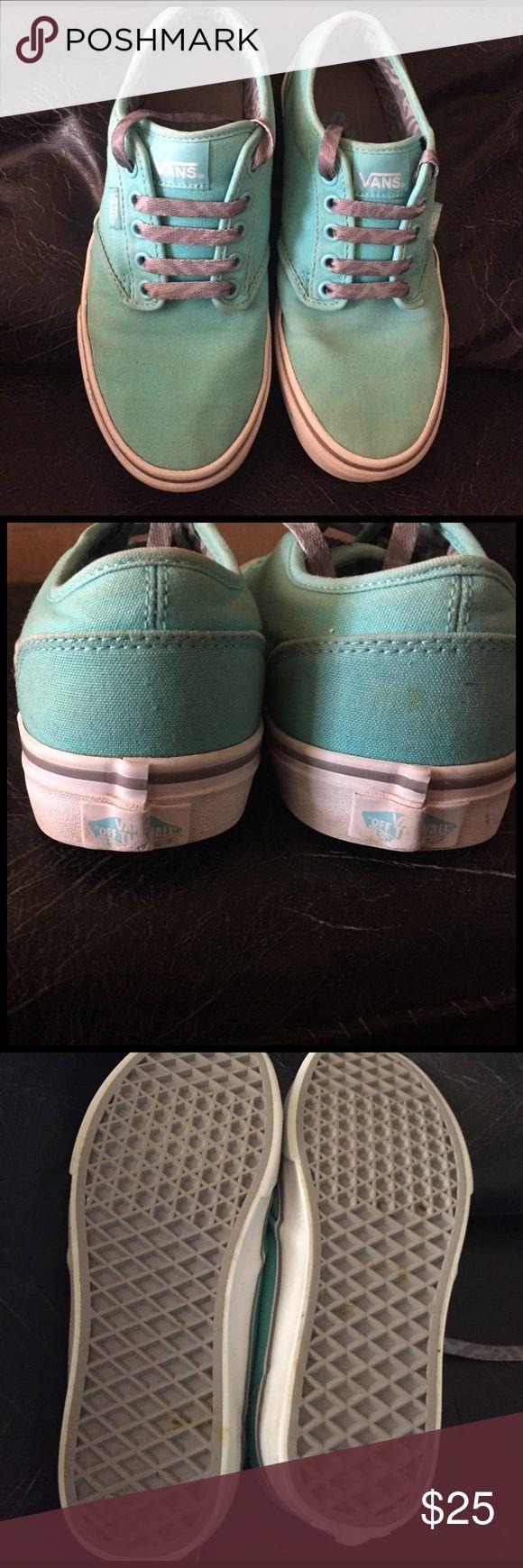 Tiffany blue vans w grey, animal print lining 🖤🖤 Tiffany blue Vans size 7. Grey animal print laces and lining. 🖤🖤🖤 Vans Shoes