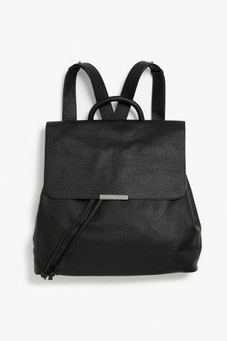 Monki Pleather backpack in Black