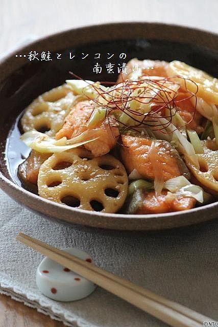 ◢ Japanese Food - lotus root and salmon