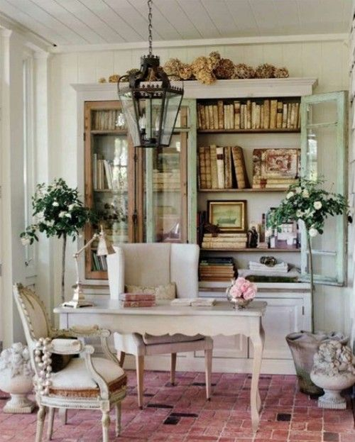 Elegant Adore The Combination Of Elegant Elements With That Brick Floor! Office  Study Workspace French Country