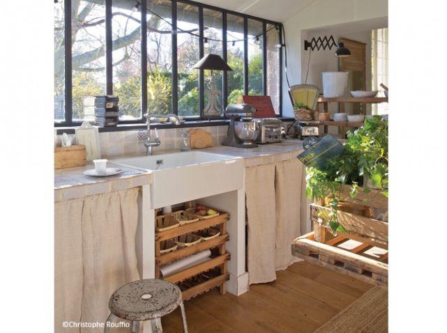 #deco #campagne #cuisine #recup #nature http://www.maison-deco.com/reportages/reportages-maisons/Deco-campagne-et-recup
