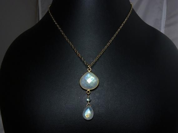 Silver and Rainbow Moonstone Bezel Set Gold Plated Pendant Necklace