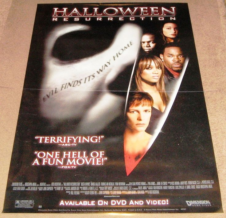 Halloween Resurrection Movie Poster 27x40 Used Bianca Kajlich, Brad Loree, Katee Sackhoff, Brent Chapman, Jamie Lee Curtis, Nancy Stephens, Brad Sihvon, Ryan Merriman, Billy Kay, David Lewis, Tyra Banks, Natassia Malthe
