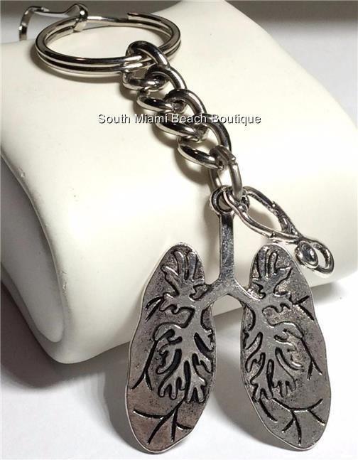 Silver Medical Keychain Pulmonary Doctor Nurse Respiratory