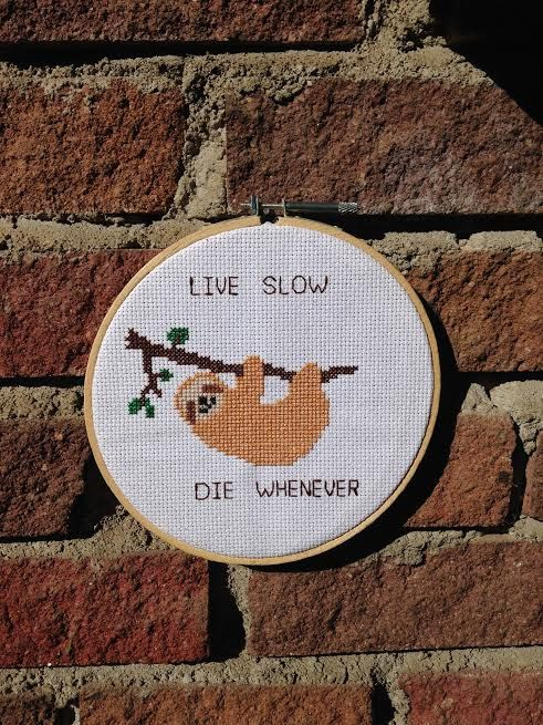 Live Slow Die Whenever  Sloth Cross Stitch in Hoop by OpheliaWorks