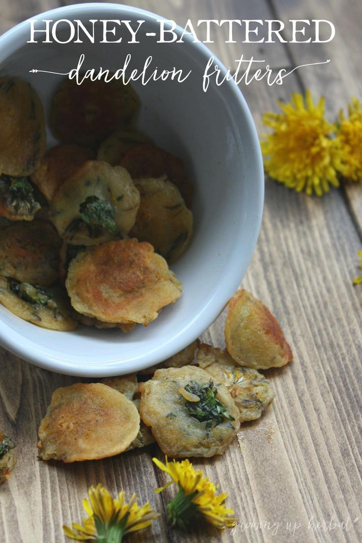 Honey-Battered Dandelion Fritters   Growing Up Herbal   Enjoy some of spring's goodness. Eat wild dandelion flowers in my version of this most famous recipe.