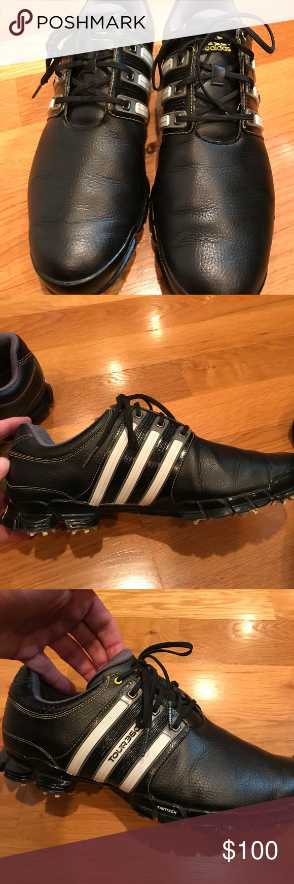 Adidas Black Tour360 Golf Shoes Here is another pair of black golf shoes in great condition! Comment if you have any questions! adidas Shoes Athletic Shoes