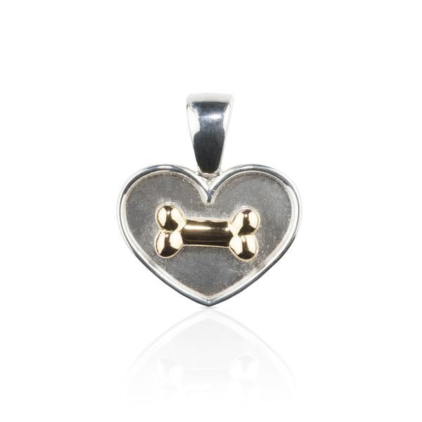 Dog themed Jewellery - Sterling Silver and 18KT YG Bone on Heart Pendant