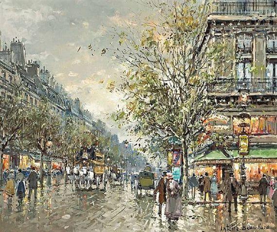 A VIEW OF BOULEVARD DES CAPUCINES AND THE CAFE DE LA PAIX  By Antoine Blanchard