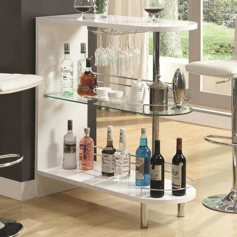 "This Beautiful Beverage center is a great addition to a living room, games room or any room where entertaining is bound to happen. Features: Contemporary Style High Gloss Finish and Chrome Accents 2 Glass Storage Shelves and Wine Glass Holder White and Chrome Finish 15.8"" x 39.3"" x 41"""