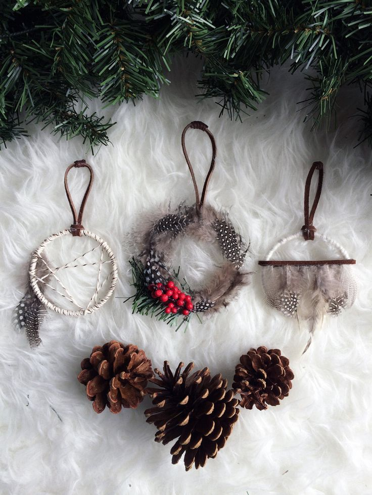 Bohemian Christmas Ornament Set - Rustic Gift Topper - Holiday Gifts for Friends - Mini Dreamcatchers - Boho Christmas Tree Decoration by BastandBruin on Etsy https://www.etsy.com/listing/255734490/bohemian-christmas-ornament-set-rustic