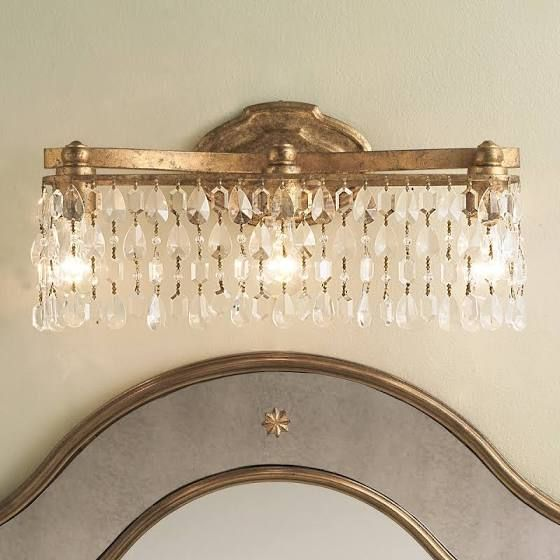 Champagne Bronze Light Fixture Crystal Bathroom Lighting