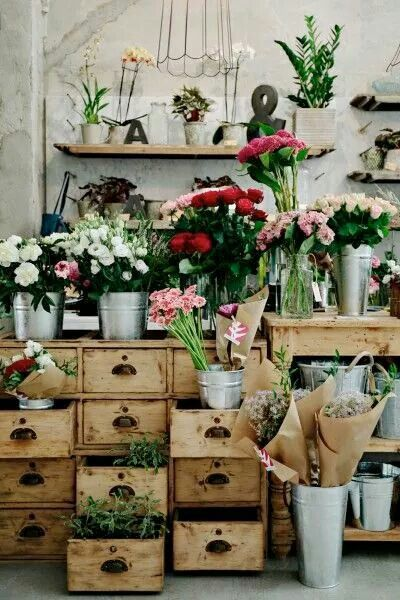 Flowers in drawers, in vases, and hanging on walls