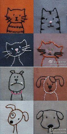Hunde und Katzen gestickt | Stickerei oder zum T-Shirts, Kissen, Taschen oder Kleidung zu verschönern