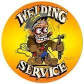 Vintage-Retro Welding Service Round Metal-Tin Sign