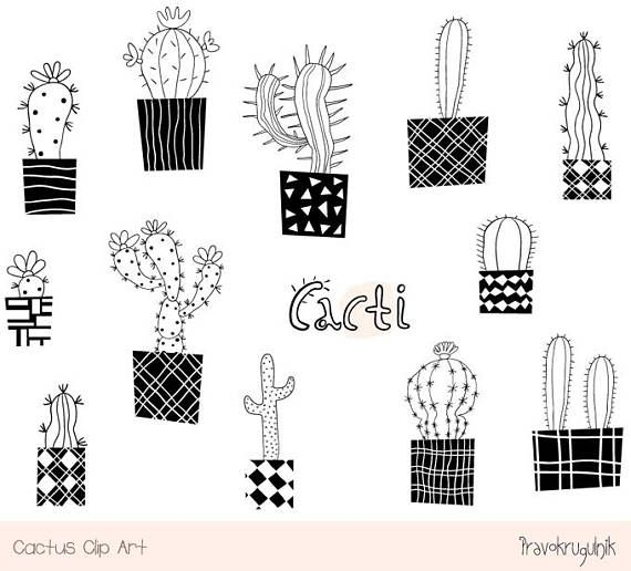 Cute Cactus Clipart Set Black And White Cacti Pot Clip Art Etsy In 2021 Clip Art Cactus Clipart Flower Drawing