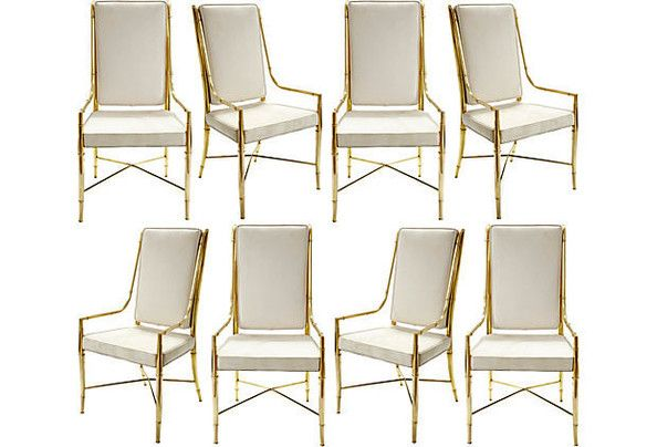 Vintage Suede and Brass Dining Chairs - Aerin Lauder's One Kings Lane Sale - Photos