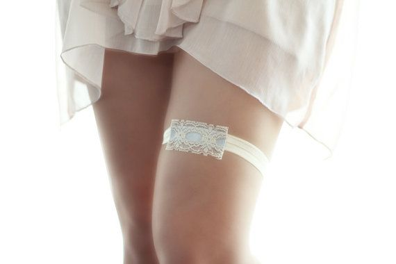 """Vintage garter is the traditional """"something blue"""". I created them from a 1970s vintage ribbon in wonderful condition, color shades are nude color"""