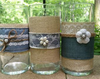 Denim And Lace Set Of Six Vases Votives Prairie Rustic Chic Country French Barn With