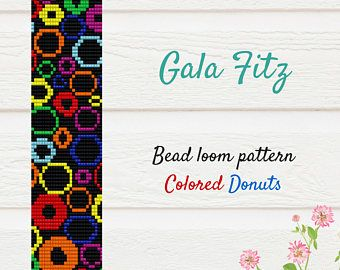 Bead loom bracelet pattern, Colored donuts pattern,