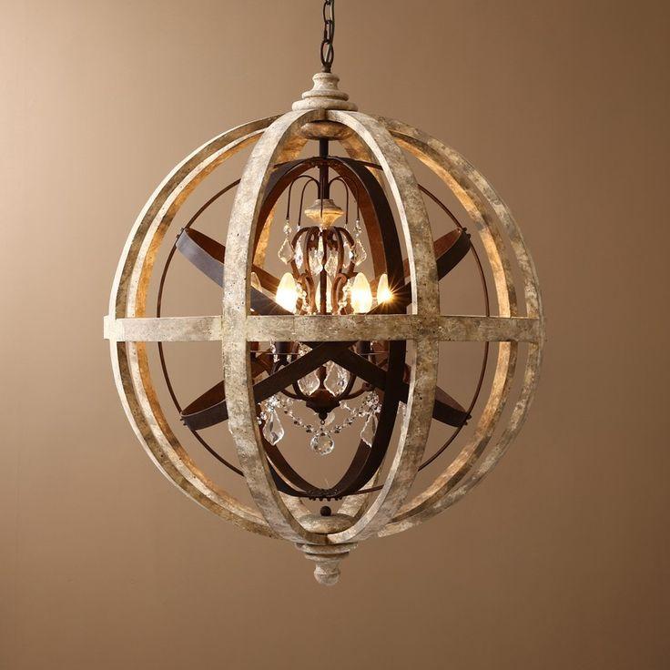 Retro Rustic Weathered Wooden Globe Metal Orb Crystal 5-Light Chandelier - Chandeliers - Ceiling Lights - Lighting