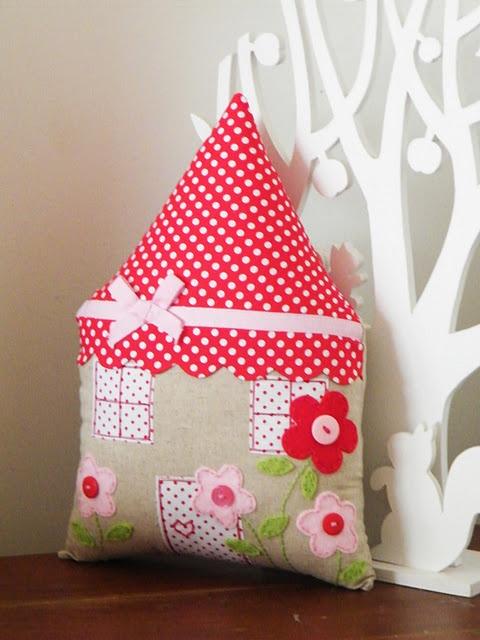 Cute little house pillow http://itsallrelative-brenda.blogspot.co.nz/