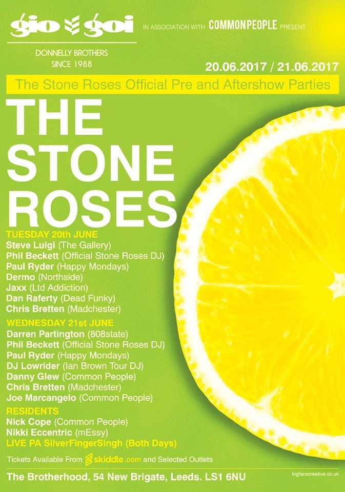 Looking ahead to the Stone Roses concerts we announce the official pre/after shows, with comments from guest DJ'/s Dermo & 808 States Darren Partington