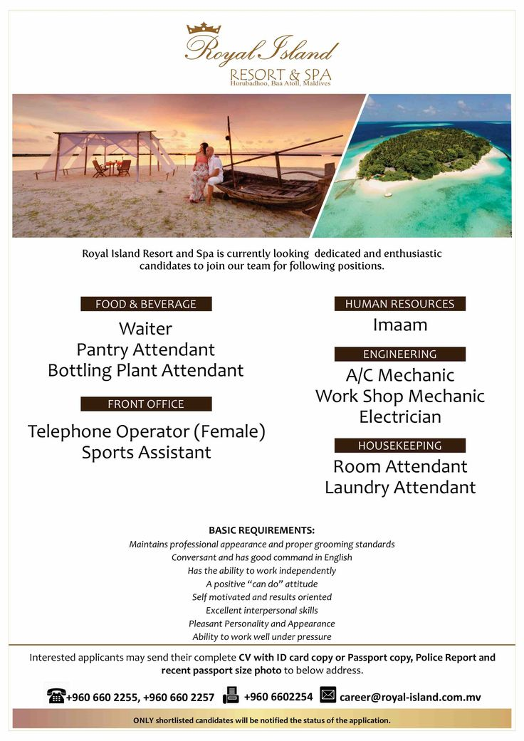 Furaveri Island Resort \ Spa Jobs Pinterest Island resort - laundromat attendant sample resume