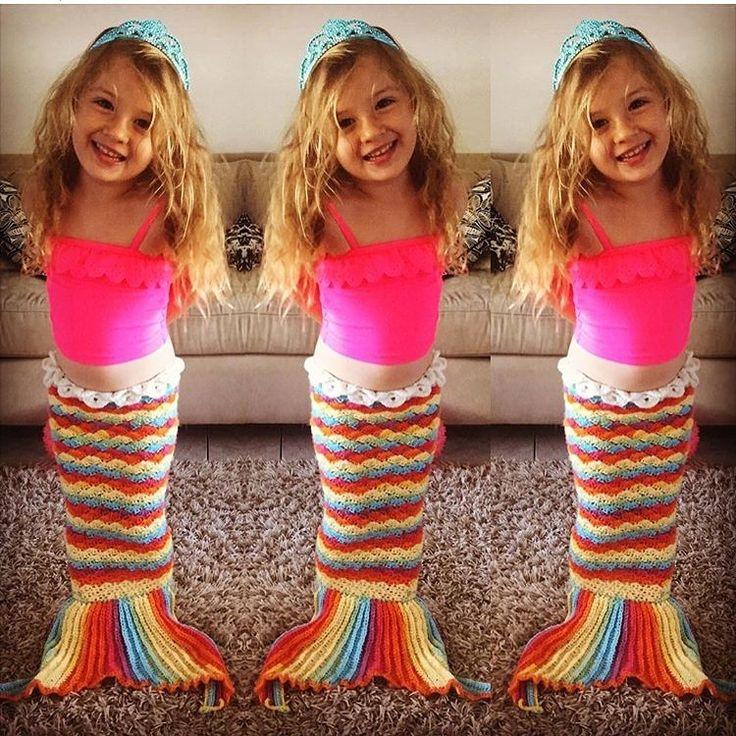 Rainbow child. Crochet mermaid tail costume for this mermaid... www.lamalatae.com.au
